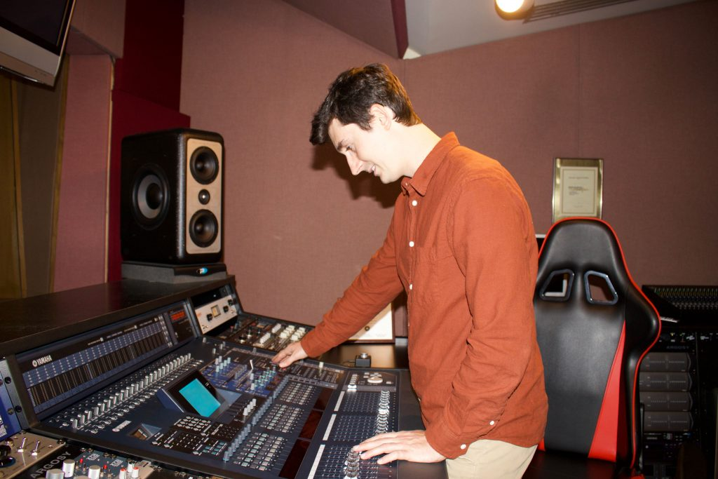 Here's a photo of me in the control room: Here I'm mixing a track off of my latest album with Antonio Juarez.  The console I'm using is a Yamaha DM 20000